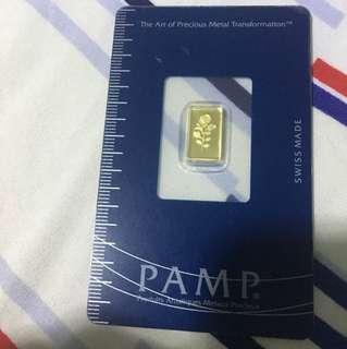 Rare 1g Pamp Gold Rose design
