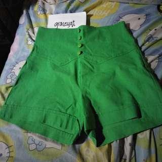 Green Highwaisted Shorts