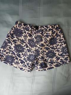 White and Blue Floral Shorts