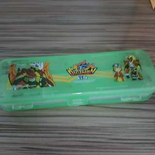 Digimon 2 way pencil case. Use. Green. 2 side open