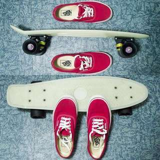Vans (red) & Penny board (glow in the dark)—see description