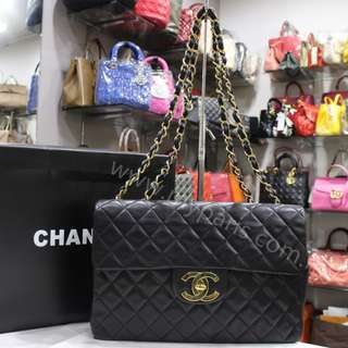 Chanel Vintage Black Lambskin Jumbo Flap Bag