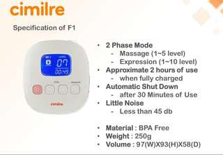 Cimilre F1 Rechargeable Double Breastpump