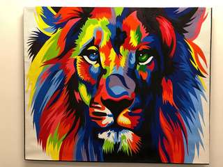 Artwork, colourful and majestic Lion, 120cmX100cm