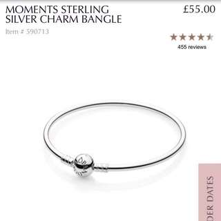 Pandora Moments Sterling Silver Charm Bangle