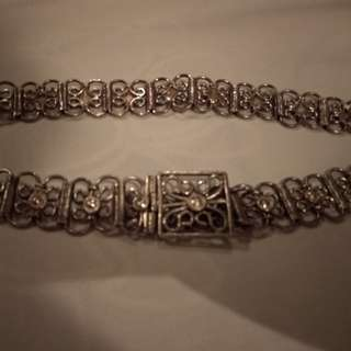 Peranakan silver girls belt