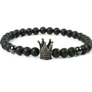 Trendy Black Crown Charm Matte Stone Bracelets - Crown Black 19cm