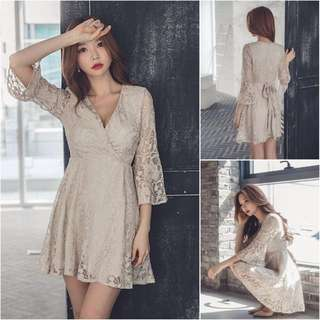 Lace Dress; Long sleeve; elegant classy trendy; Korean Kpop ulzzang; v neck; office work; lady woman women female; flowery floral