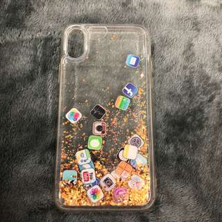 iPhone X apps glitter quicksand case