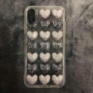 iPhone X glitter hearts case