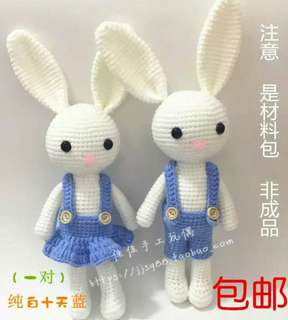 DIY kit crochet rabbit pair set