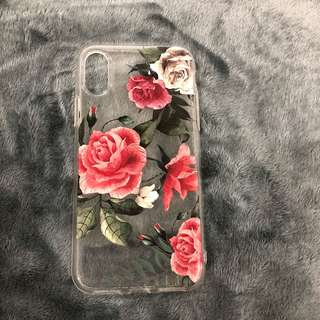 iPhone X pink floral TPU case