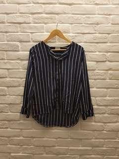 Pinstripes chiffon blouse in dark navy blue