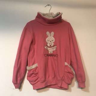 粉色兔兔毛絨絨長版T
