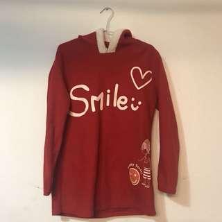 🚚 紅色笑容毛絨絨長版上衣