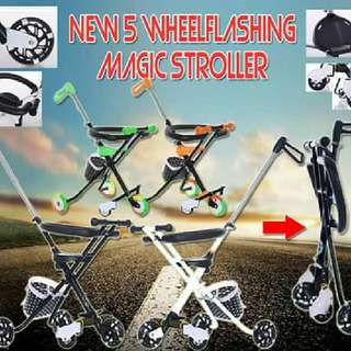 NEW 5 MAGIC WHEELFLASHING STROLLER