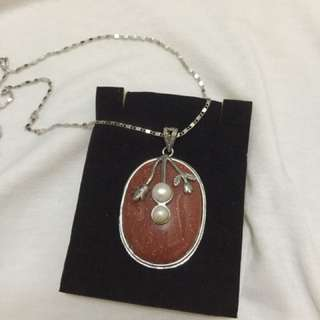 Red Gold Stone with Pearl pendant