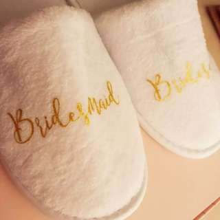 Wedding brides bridesmaids groom bedroom slippers