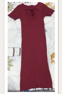 Red maroon lace up tight dress