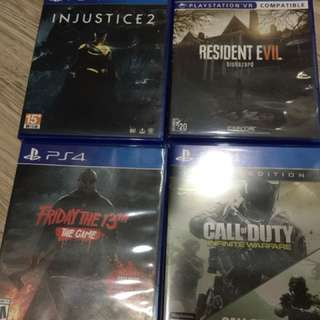 PS4 Games injustice 2, resident evil etc
