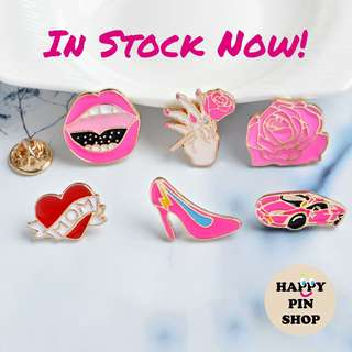 [IN STOCK] Say Ah Lips pin, Blooming Pink Rose, I Heart Mom, Lightning Stiletto, Pink Lamborghini