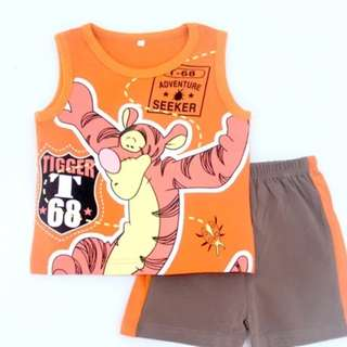 Brand New Tigger Set In Orange Disney Winnie And Friends Set Sleeveless Singlet And Shorts Pants