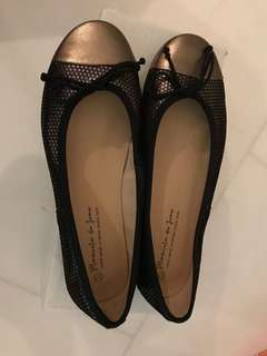 Black and Gold Ballet Flats