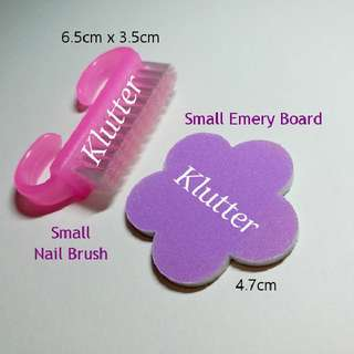 Klutter $2 - Nails Emery Board & Brush Fingers Toes Fingernails Pink Purple Girls Ladies