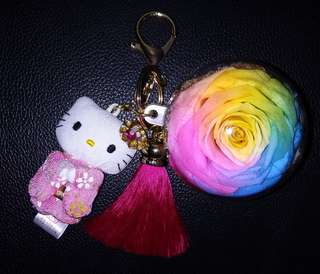 Hello Kitty with Rainbow preserved flower