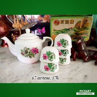 Vintage Bungah Kangkong Teasets. Small size, Dimension as in photo. Good Condition, unused. 1 teapot + 5 cups (6 items) for $15 Clearance Offer! Sms 96337309 for Fast Deal.
