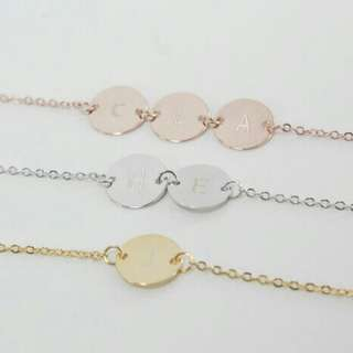 [PREORDER] Custom Engraved Personalised Alphabet Coin Necklace/Bracelet