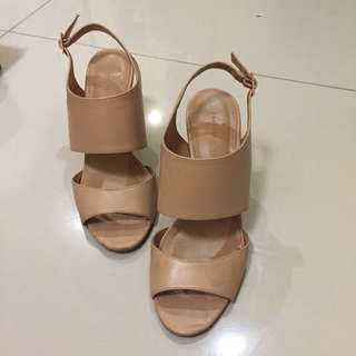 Charles and Keith Wedges Beige Nude Elegan #123moveon