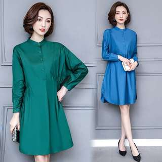 (L~5XL) Spring 2018 women loose long-sleeved shirt dress