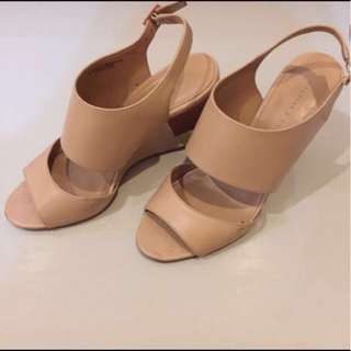 Charles and Keith Nude Beige Kulit Wedges High Heels #123moveon