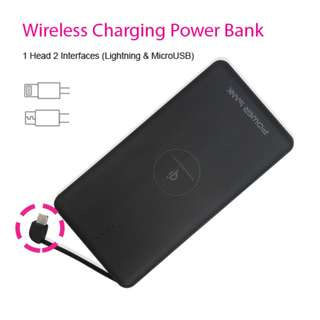 Qi Wireless Charging Power Bank with Cable