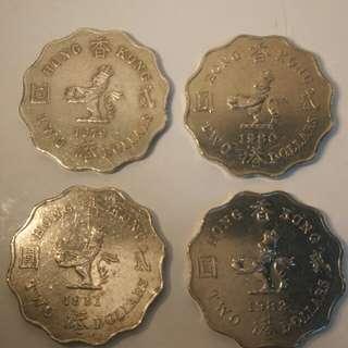 香港貳元硬幣4枚(1979-1982)