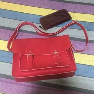 Package! Red satchel bag and red wallet