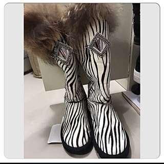 real 🐴Pony Hair Boot 真皮馬毛+真狐毛高筒內增高款。ugg Top Shop Zara