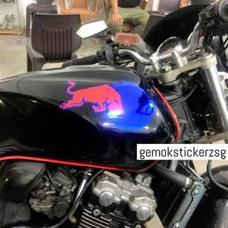 RED&BLUE CHROME REDBULL DECAL