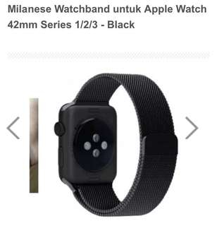 milanese black watchband for apple watch 42mm series 1/2/3
