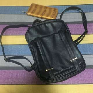 Package! Black backpack and brown/gold wallet