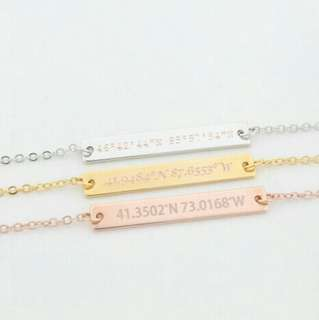 [PREORDER] Custom Engraved Personalised Coordinate Bar Necklace/Bracelet