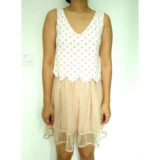 Dress Peach Polkadot