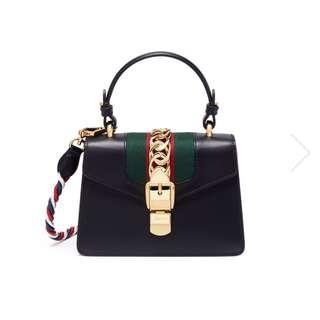 Gucci Sylvie mini leather chain web leather bag