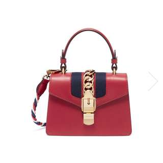 Gucci Sylvie mini leather chain web leather bag