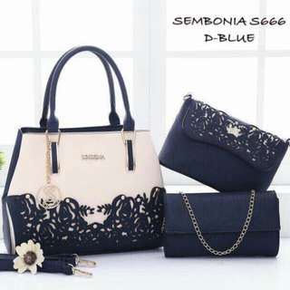 Sembonia 3 in 1 Set Handbag Dark Blue Color