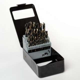 29pc Drill Bit High Speed Steel w/ Metal Case & Organizer Set