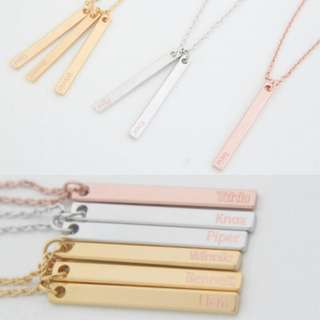 [PREORDER] Custom Engraved Personalised Name Vertical Bar Necklace