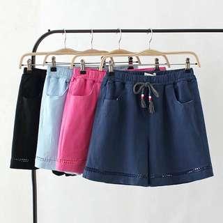 (XL~4XL) Women's cotton shorts summer high waist hollow casual pants hot pants