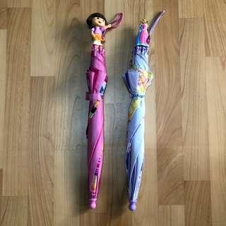 美國購入 正版迪士尼公主+朵拉Dora立體造型幼兒雨傘 兩支合售 Disney Princesses